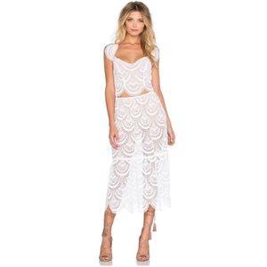 For Love & Lemons White Rosalita Midi Skirt NWT